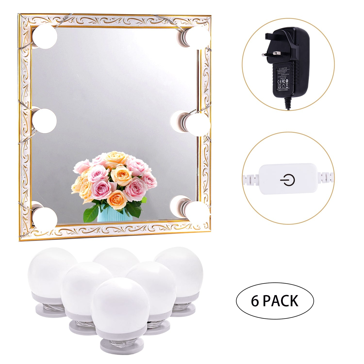 LED Makeup Mirror Lights(4000K, 6Bulbs, Plug in), Mirror Not Included