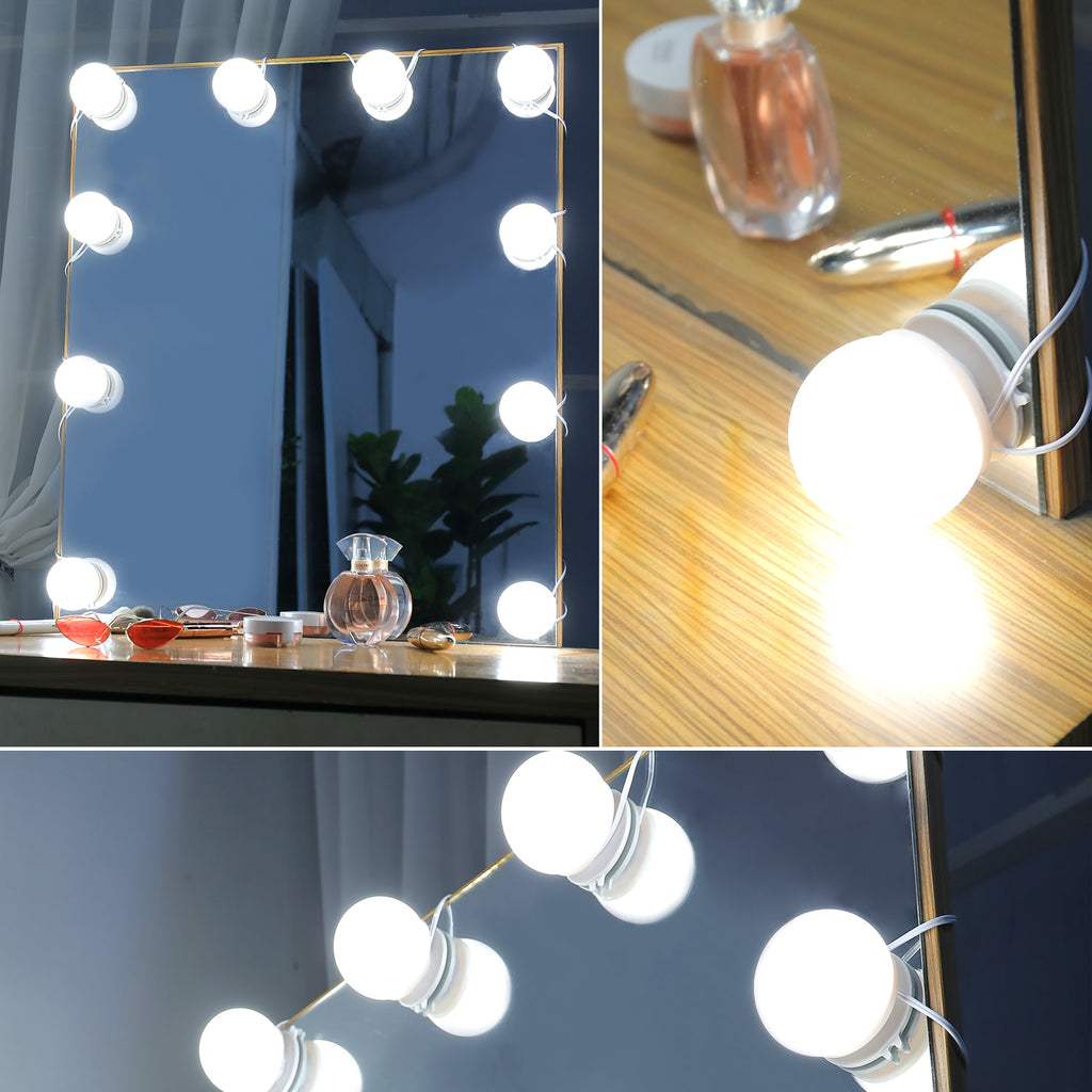 Linkable LED Makeup Mirror Lights(2700K/4000K/6000K, Plug in, 10Bulbs)