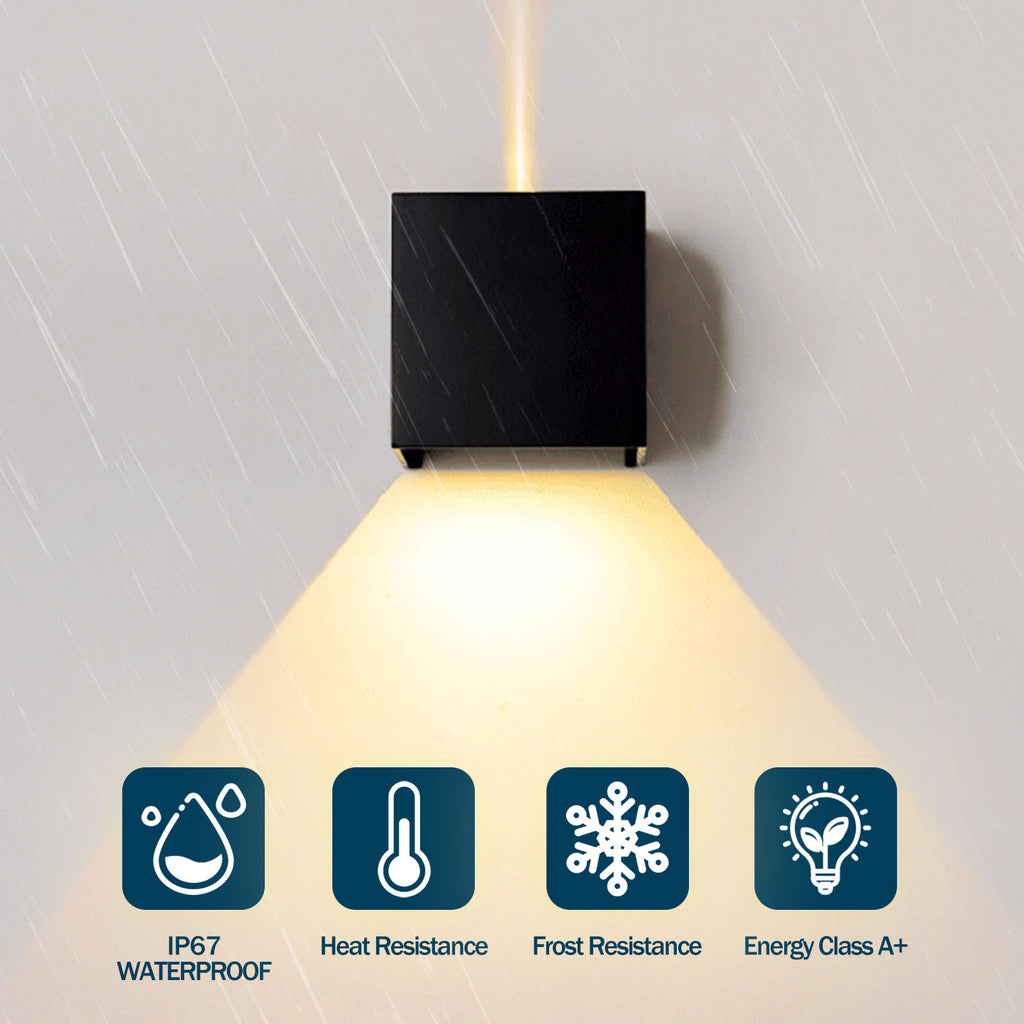 Waterproof LED Wall Light for Indoor Outdoor Lighting(12W Black, IP45)
