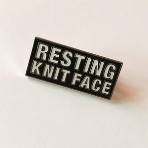 "Westknits ""Resting Knit Face"" pin"