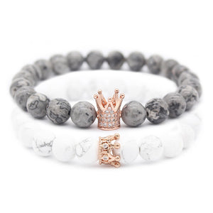 Crown Charm Couple Bracelets for Lovers 8m Natural Stone Beaded Bracelet Set Valentine's Day Gift