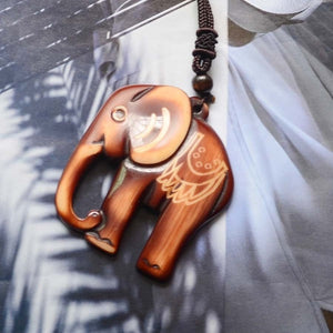 Bohemia Folk-custom Wooden Elephant Sweater Necklace  Accessories Necklace