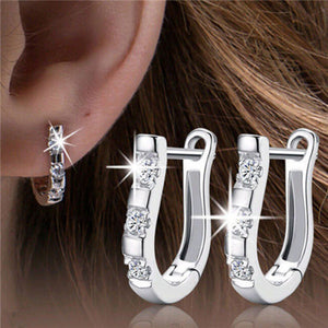 1 Pair 925 Sterling Silver Lady White Gemstones Women's Hoop Earrings