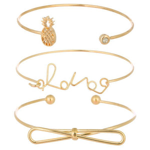 New Women's Love Letter Bow Pineapple Opening Bracelet Set Three-piece