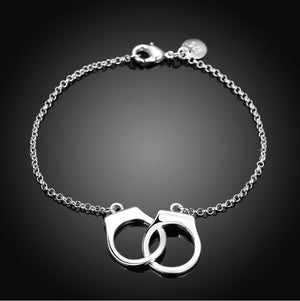 Winsome Fashion Jewelry 925 Sterling Silver Handcuffs Chain Bracelets for Women