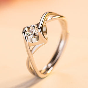 Elegant 925 Sterling Silver Fashion Angel Heart Diamond 4.0mm Wedding Bridal Opening Adjustable Ring Lovers Gifts