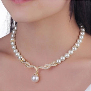 Z-RED Angel Wings Jewellery Set Wedding Necklace Earrings Faux Pearl Bridal Set