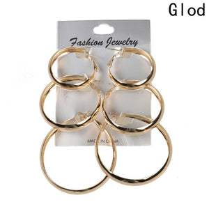 3Pair Exaggerated Circle Earrings Set Wild Accessories Ear Hooks