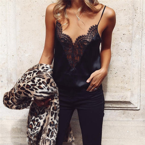 V-Neck Slim Sling Sleeveless Lace Stitching Vest - Robes