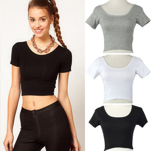 New Fashion Sexy Women Shirt Cotton Short Sleeves Tops Casual Midriff-baring Backless Tight T-shirt Wholesale & Drop Shipping - Robes