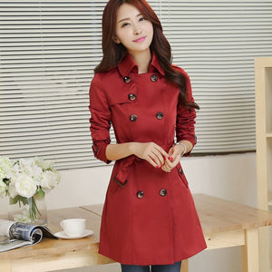 Trench Coat Classic for women Business Outerwear Double Breasted - Robes