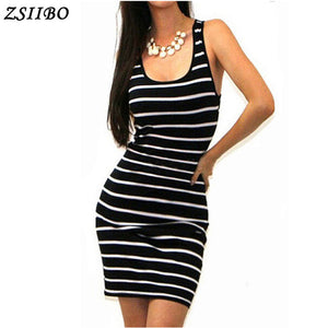 Long Short sleeve autumn winter Casual Women Striped Bandage Bodycon Dress Sexy Slim Sleeveless Evening Party Mini Dress - Robes
