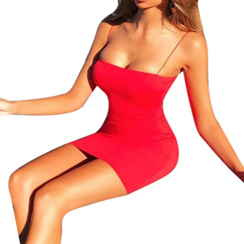 Sexy Solid Sleeveless Straps Club Bodycon Mini Dress - Robes