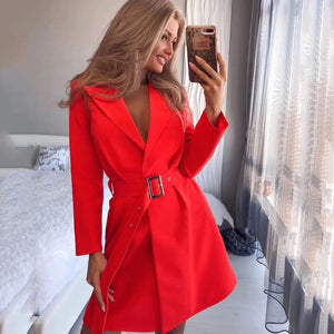 Trench-coat Rouge Sexy Cardigan à manches longues Ceinture Out Wear