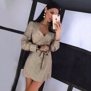 Long Sleeve Bandage Belt Sexy Mini Dress - Robes