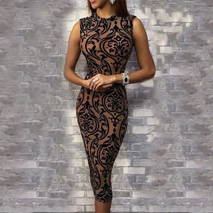 Sleeveless O Neck Evening Party Dress - Robes