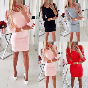Women Sexy Cold Shoulder Beading Bodycon Dress Ladies Evening Party Mini Dress # - Robes