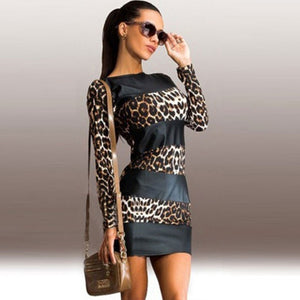 Sexy Leopard Leather Splice Long Sleeve - Robes
