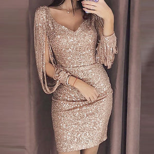 Solid Tassel Sequined Glitter Stitching Shining Club Dress - Robes