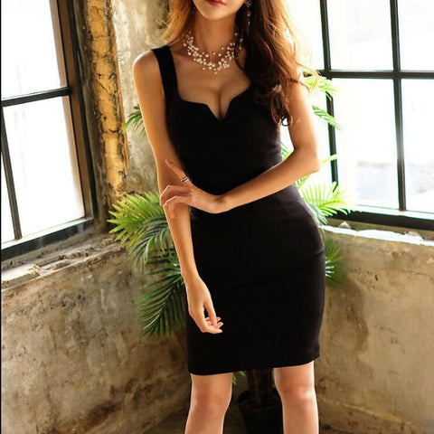 Elegant Deep-V Low-Cut Sexy Sheath Sleeveless Vest - Robes