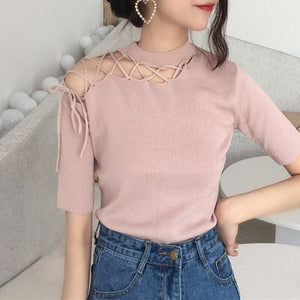 new Summer T Shirt Women Knitted Short Sleeves Tee Shirt Hollow Out Breathable Top T shirt - Robes