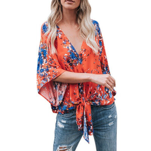 Women Summer Blouse Sexy Printed V Neck Chiffon Shirt Sexy Tops - Robes