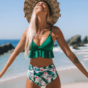 Sexy Ruffle Bikini Set Women Solid Print Swimsuit Sexy Backless Swimwear High Waist Bikinis Bathing Suit Beachwear Biquinis 2020 - Robes