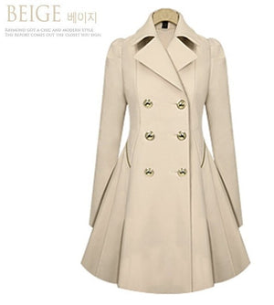 Trench-coat à double boutonnage coupe-vent chaud causale grande taille