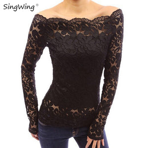 Singwing Autumn Lace Women Blouses Long Sleeve Casual Style Shirts Slash Neck Solid Color Women's Clothing Blouse - Robes