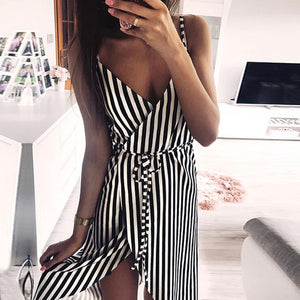 KANCOOLD dress Women Stripe Printing Sleeveless Off Shoulder Dress Evening Party Vest Empire Sashes dress women 2018AUG1 - Robes