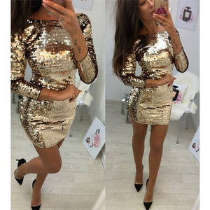 Ladies Formal Evening Party Sexy Sequin Club Short Dresses Sexy Vestidos Autumn Dresses Women Golden Sequins Bodycon Dress - Robes