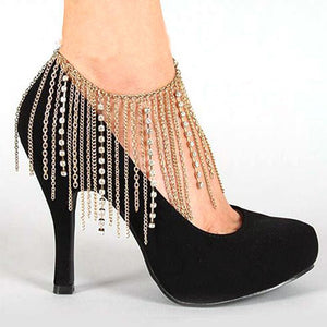 High Heels Chain Tassel Women Anklet Shoes Decoration Rhinestone Fashion Luxury Attractive Wedding Bridal Accessories Party - Robes