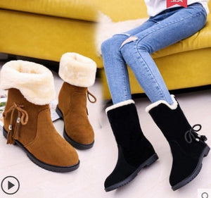 2018 Autumn Winter Women Boots Mid-Calf Boots Brand Fashion Stretch Cotton Fabric Slip-on Boots Flat Shoes Woman