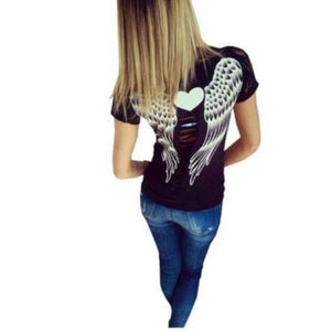 T-shirt Tops femmes Hollow Angel Wings Style d'été à Dentelles Manches courtes - Robes