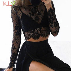 Mesh Top White Women Sexy Lace Short Crop T Shirt Tops Sheer Transparent Harajuku Undershirt Camisas Femininas Clubwear 18Jan21 - Robes