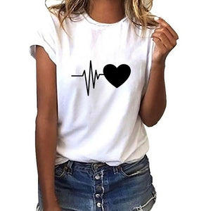 Fashion T-Shirt Women's Loose Short-Sleeved Soft Heart Print T-Shirt Daily Party beach Casual O-Neck Top Women Party T-Shirt New - Robes