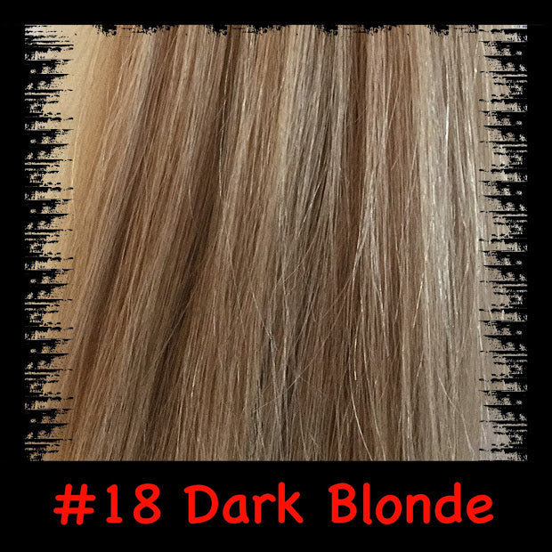 Dark blonde coloured hair extensions