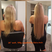 Long length blonde hair extensions