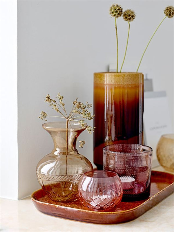 Etched Glass Vase, Brown