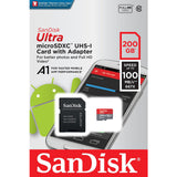 sandisk ultra a1 200g microsd SDSQUAR-200G retail front