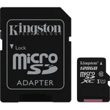 kingston canvas select 128g microsd with sd adapter sdsc/128gb front