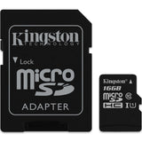 kingston canvas select 16g microsd with sd adapter sdsc/16gb front