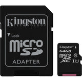 kingston canvas select 64g microsd with sd adapter sdsc/64gb front