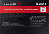 samsung 860 pro 2.5 inch 512gb internal ssd MZ-76P512BW retail back