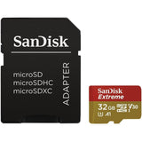 sandisk extreme v30 a1 32g micro sd card sdsqxaf-032g front with sd adapter