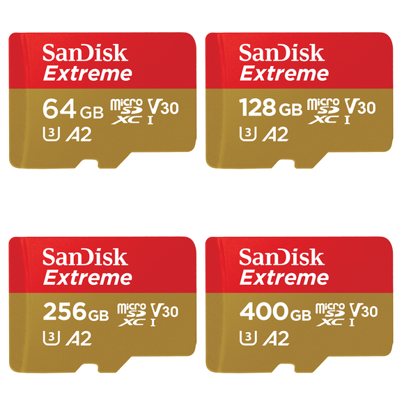 sandisk extreme v30 a2 series gb micro sd card front
