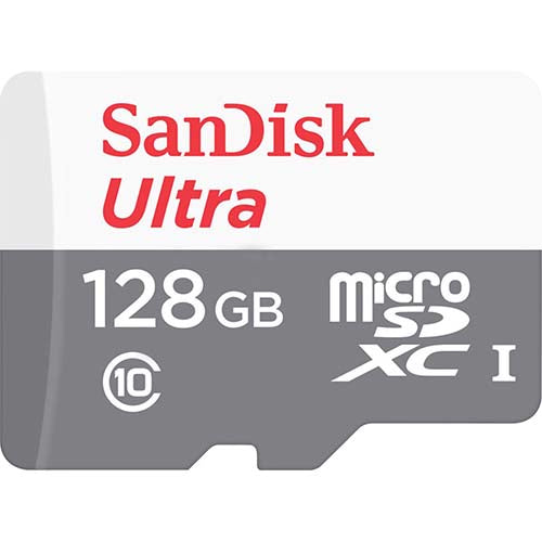sandisk ultra 128gb micro sd memory card SDSQUNS-128G front