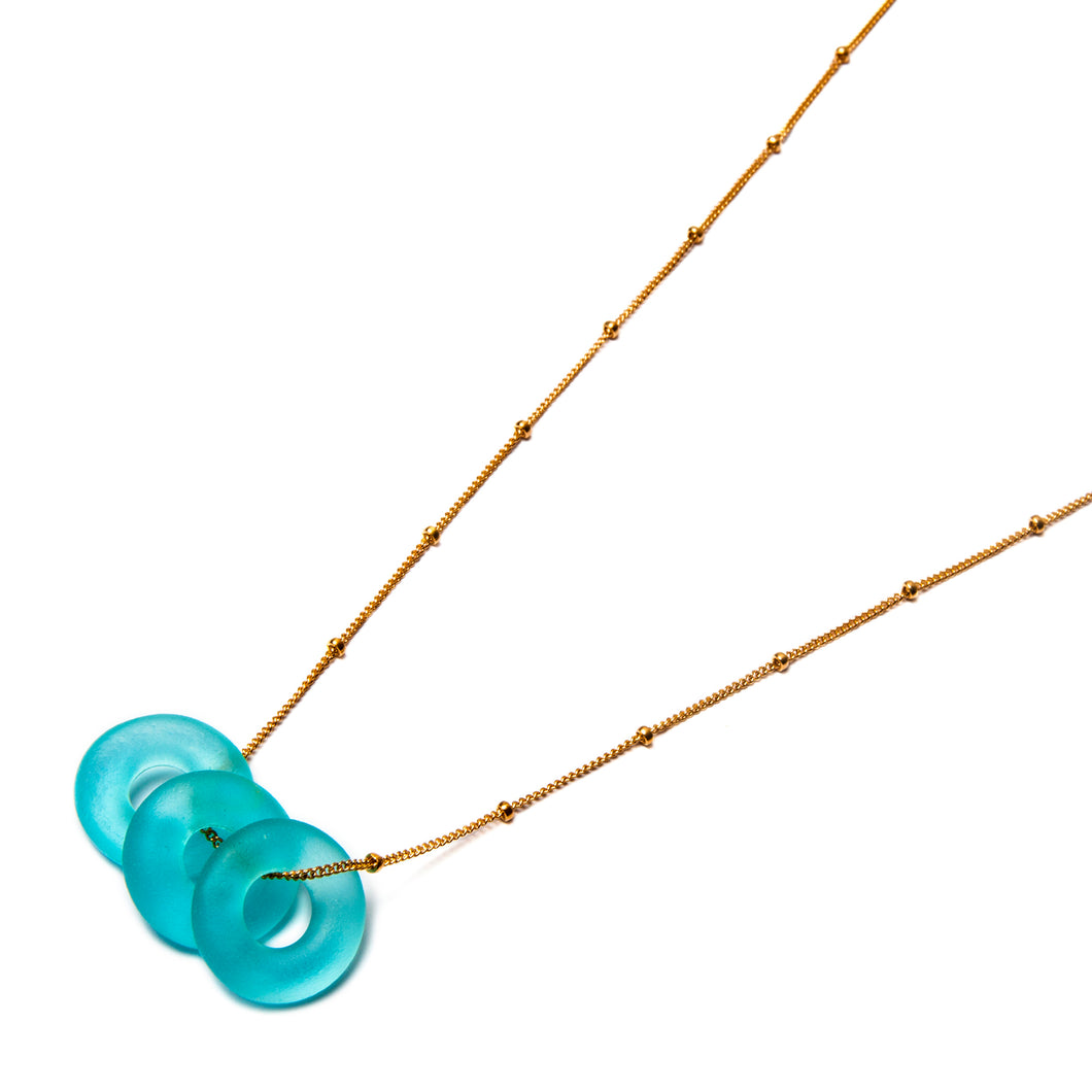Mini Triple Necklace Aqua