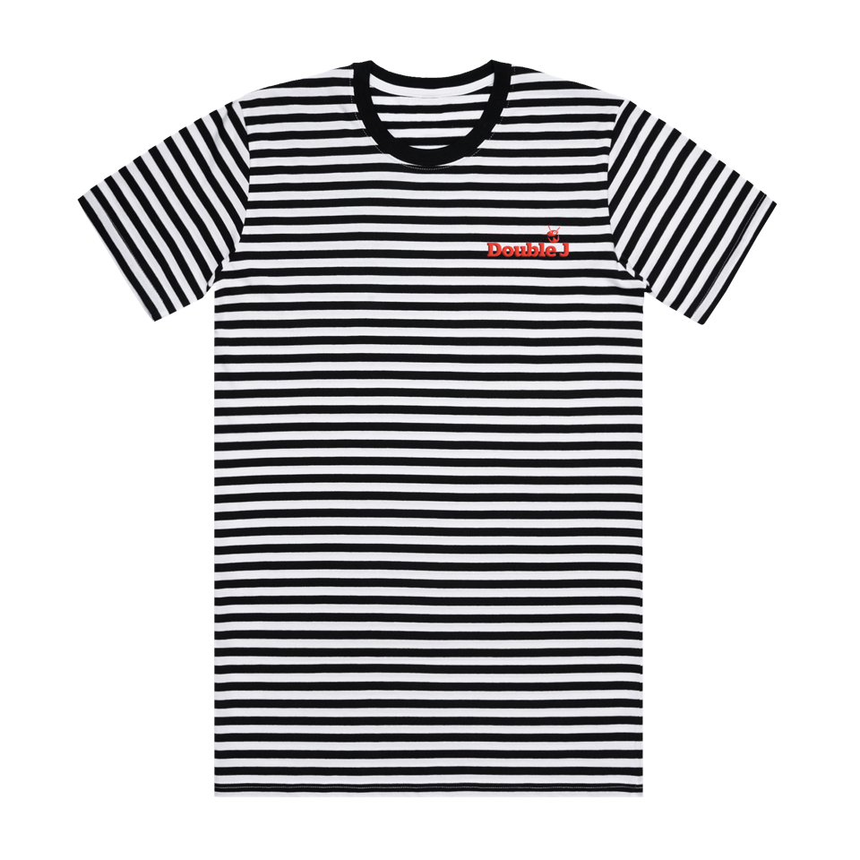 Double J Red Embroidered Striped Tee (Black and White)
