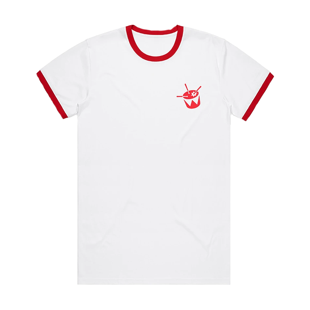 triple j Ringer Tee (White/Red)